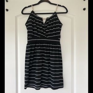 Black Cotton Dress with White Stripes